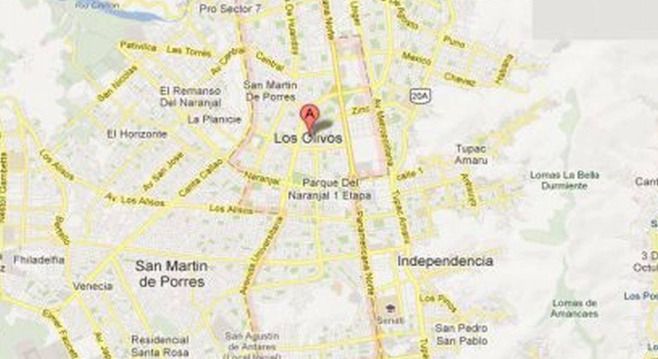 hallados en un colegio en Los Olivos. (Foto: maps.google.com.pe