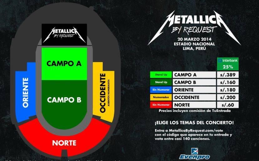 Precios de las entradas para el concierto de metallica en for Entradas para espectaculos