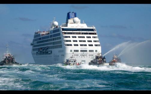 Así zarpó el Adonia, el primer crucero que viajará de USA a Cuba en 50 años
