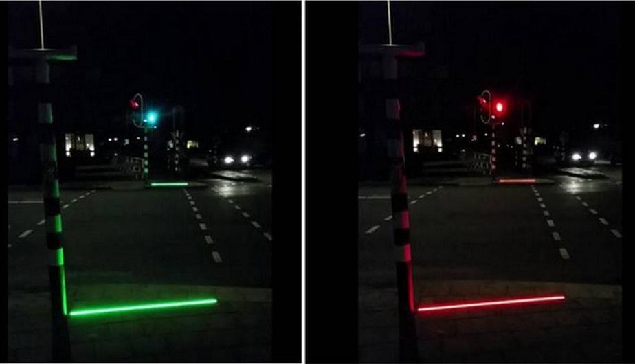 Semáforo en el piso. (Foto: Ayuntamiento de Bodegraven)