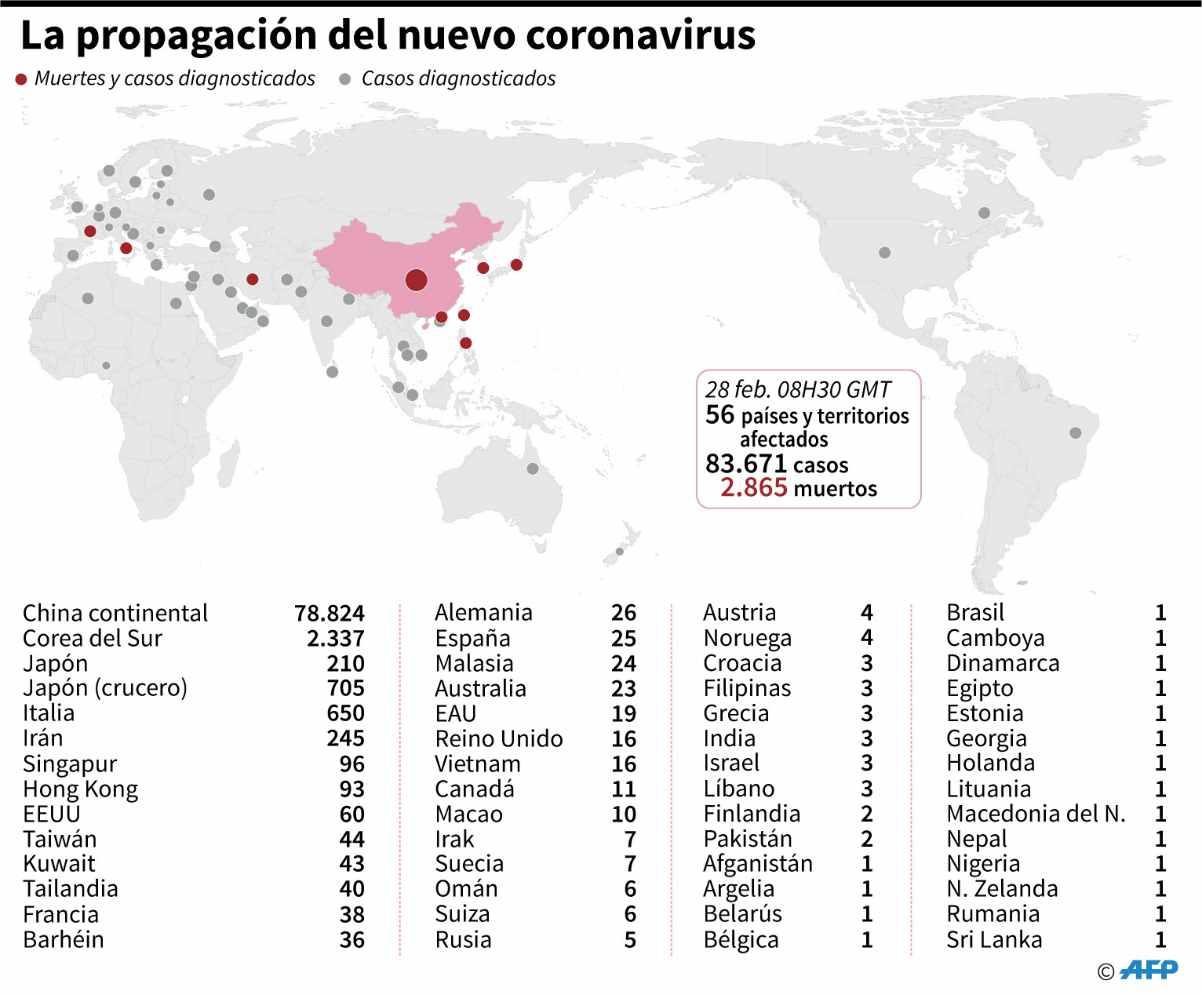 paises con casos de coronavirus covid 19 infografía