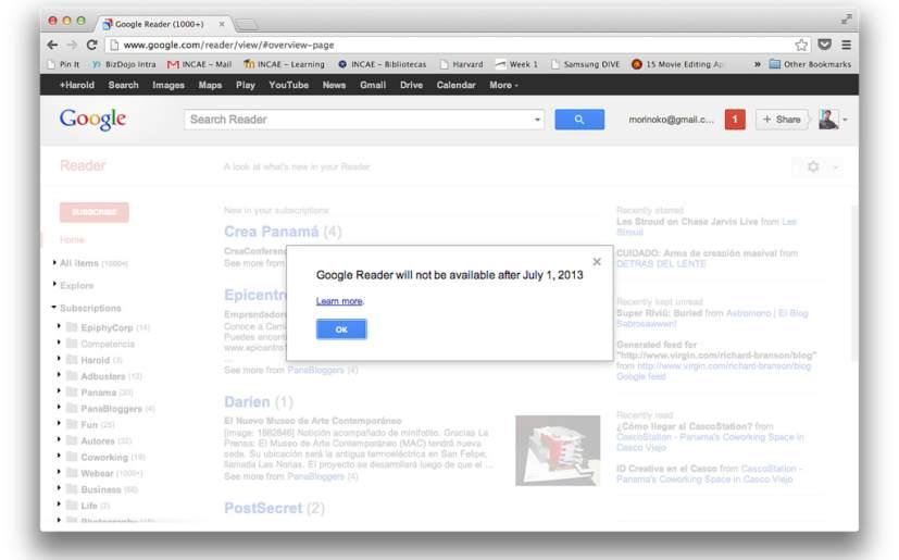Google Reader deja de funcionar hoy
