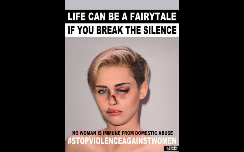 Kim kardashian y miley cyrus en impactantes fotos para frenar kim kardashian y miley cyrus en impactantes fotos contra violencia a la mujer altavistaventures Image collections