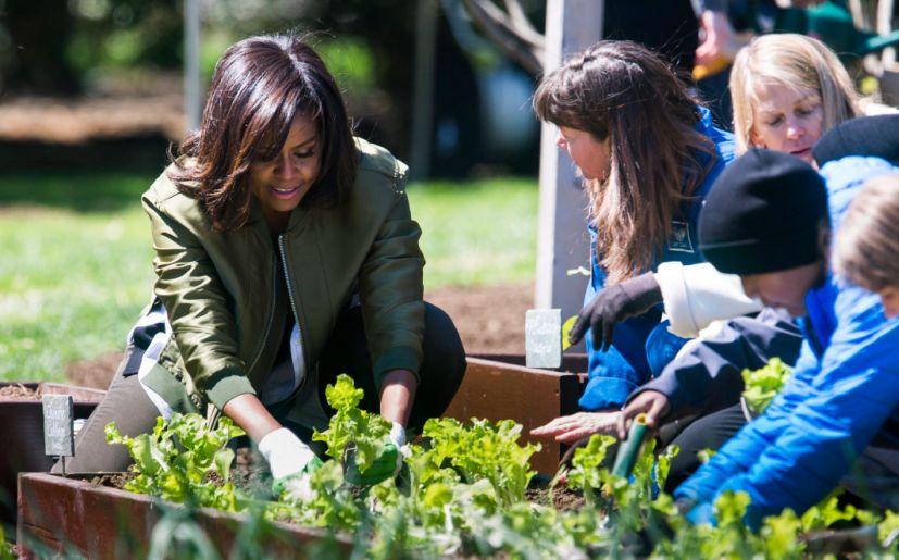 Michelle Obama plantó el martes su último huerto en la Casa Blanca (EFE)
