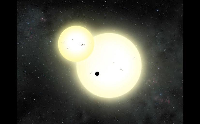 Impresión artística de un eclipse estelar y tránsito planetario en el Kepler-1647. (Foto: Lynette Cook).