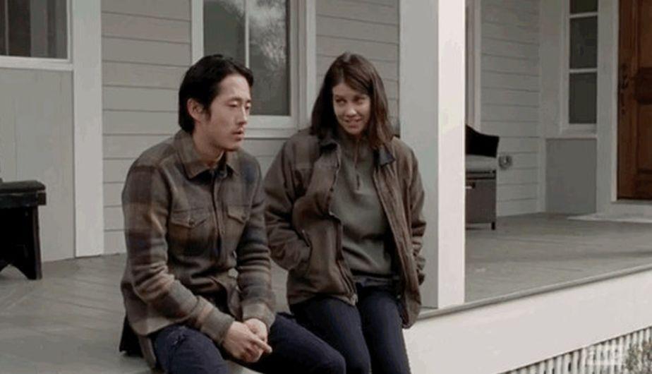 Steven Yeun es Glenn y Lauren Cohan es Maggie en 'The Walking Dead' (Foto: AMC)