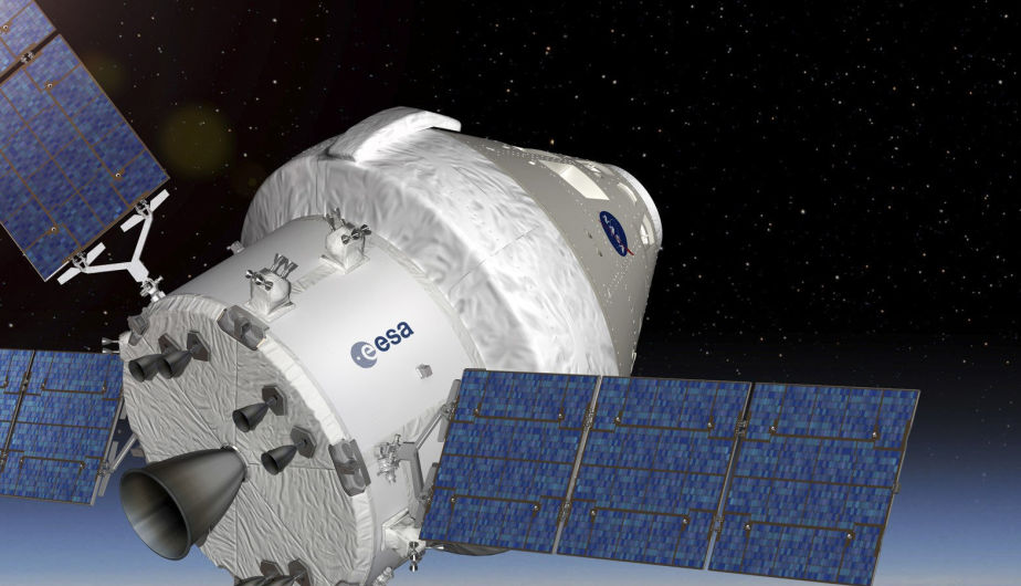 Recreación de la nave Orion con el módulo de servicio de cuya fabricación se encargarán la ESA y el consorcio aeronáutico Airbus Defensa y Espacio para garantizar la propulsión de la nave en su misión de 2021, que irá tripulada.(Foto: EFE)