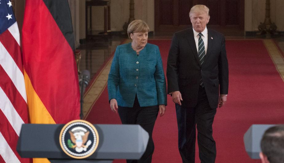 Angela Merkel y Donald Trump en la Casa Blanca. (Foto: EFE)